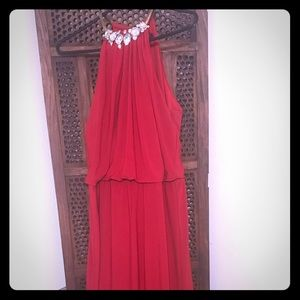 MSK red embellished blouson gown